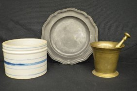 19th Century English Pewter Plate, Brass Mortice And