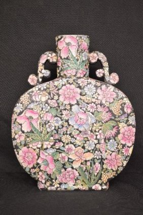 """Black Enameled Chinese Vase With All Over Flowers 15.5"""""""