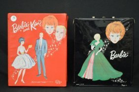 Barbie And Ken Dolls , Cases And Clothes