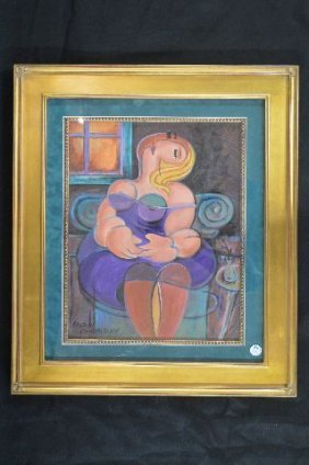 Cubist Oil Painting Of A Woman Signed Sarah Chamberlain