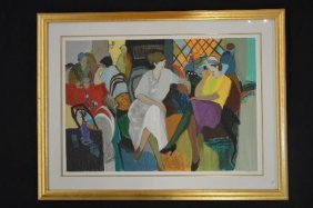 Large Print Of A CafÉ Scene Signed By Israel Artist