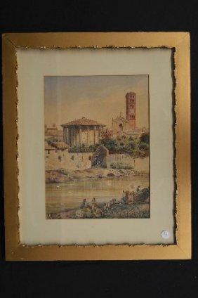 19th Century Watercolor By Roberto Gigli Of 'veduta Di