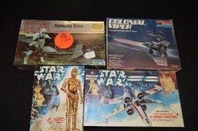 4 Vintage Star Wars Unmade Models, C3po, Speeder Bike,