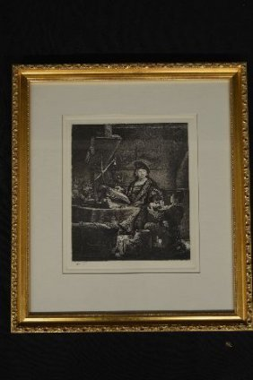 Rembrandt Etching, 19th Century Posthumous Printing By