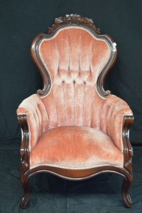 Carved Rosewood Victorian Armchair W/ Red Velvet