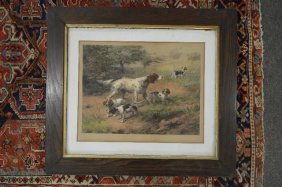 "1893 Edmond Henry Osthaus Color Print ""setter With 3"