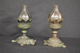 Pair Of Figural Bronze Antique Chinese Lotus Flower