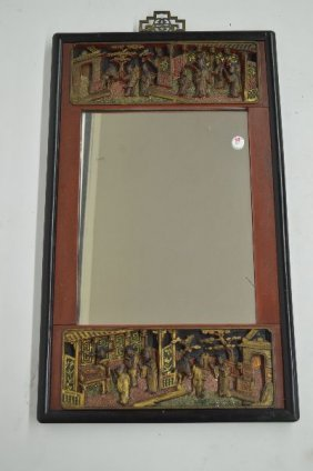 Antique Chinese Relief Carved And Painted Mirror