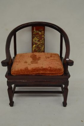 Chinese Hardwood Armchair With Carved And Painted