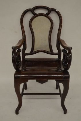 Antique Carved Chinese Hardwood Armchair With A White