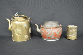 A Yixing Teapot And Two Antique Chinese Brass Items