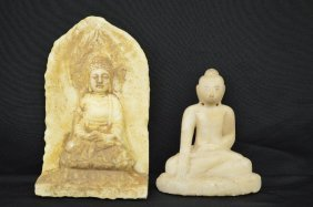 2 Antique Chinese Carved Stone Budhas