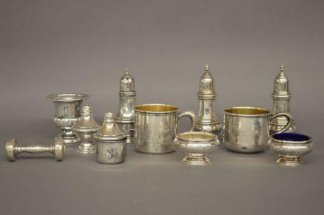 STERLING SILVER RATTLE, CUPS, CASTORS, KERR, GORHAM