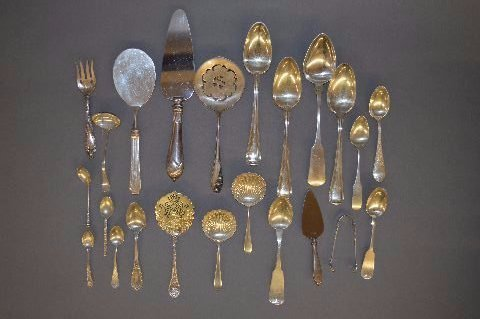 22 PIECES OF FANCY VICTORIAN STERLING SILVER  FLATWARE