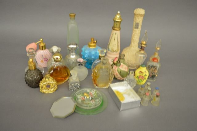 """27 ANTIQUE PERFUME BOTTLES AND 2 SNUFF BOTTLES; 8 1/2"""""""