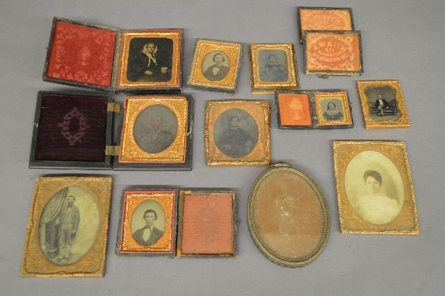 9 AMBROTYPES AND  DAGUERREOTYPES, UNION CASES
