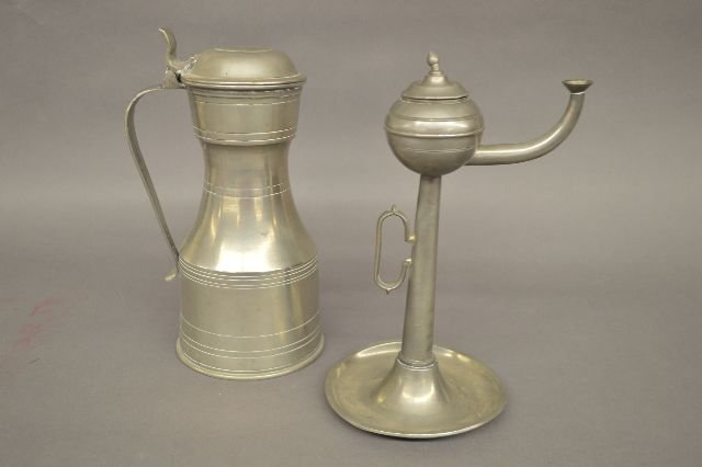 A DUTCH HALLMARKED PEWTER OIL LAMP AND A LONDON PEWTER
