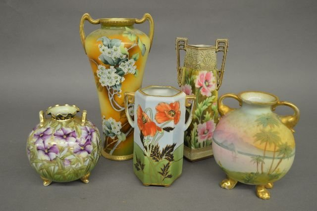 5 NIPPON VASES, 1 WITH PALM TREE HAS CHIP