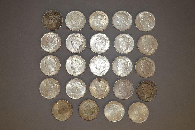 24 PEACE DOLLARS, 15 1924, 2 '22, 1 '25, 2 '21, 4 '23