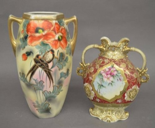 "2 LARGE HAND PAINTED ROYAL NIPPON VASES; 12"" AND"