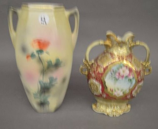 "2 LARGE HAND PAINTED ROYAL NIPPON VASES; 12"" AND - 2"