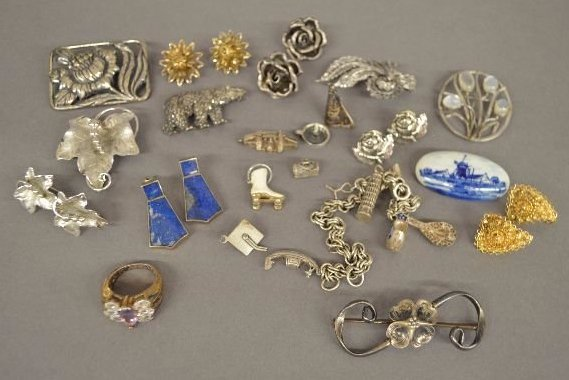 15 PIECES VINTAGE STERLING SILVER JEWELRY