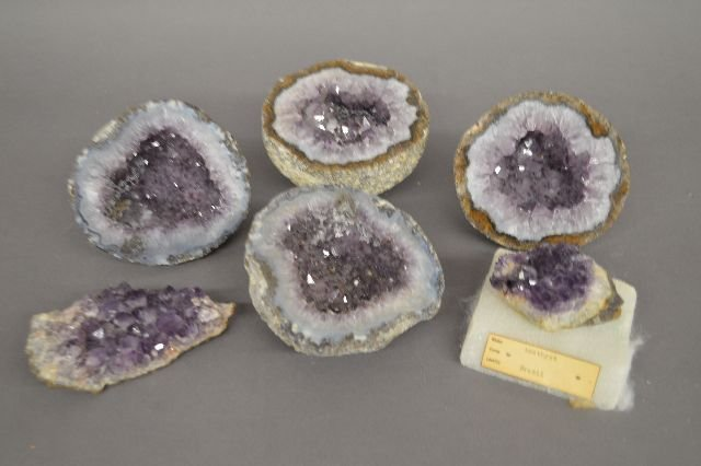 """6 AMETHYST GEODES; 5"""" AND SMALLER"""