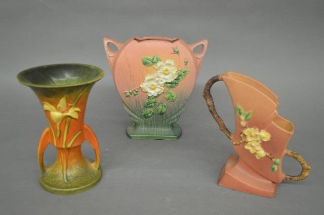 "3 ROSEVILLE POTTERY VASES; 8 1/2"" AND SMALLER"