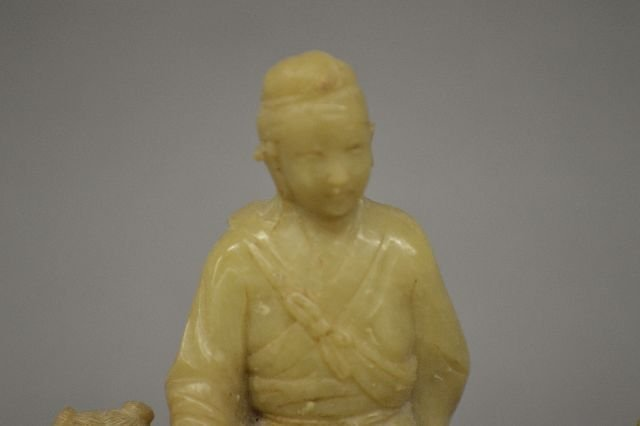 SUNG DYNASTY CARVED STONE FIGURE OF QIN ZIN LING - 6
