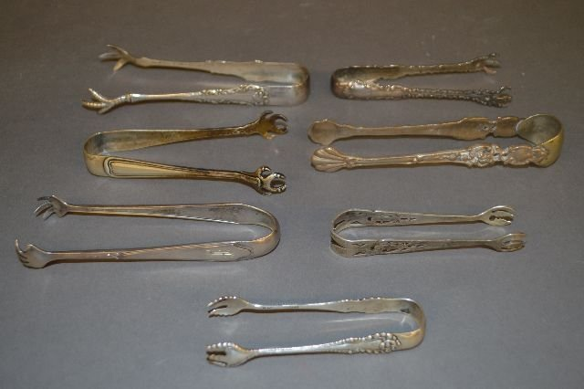 7 FANCY STERLING SILVER VICTORIAN SUGAR TONGS; 4.53