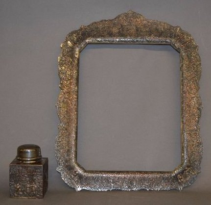 FANCY VICTORIAN SILVER PLATE FRAME AND TEA BOX