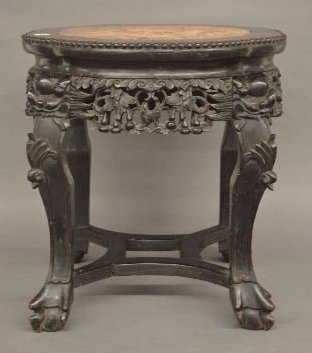 ANTIQUE CARVED WOOD AND MARBLE CHINESE LAMP TABLE