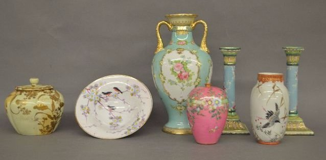 7 HAND PAINTED AND ENAMEL NIPPON PORCELAIN VASES,