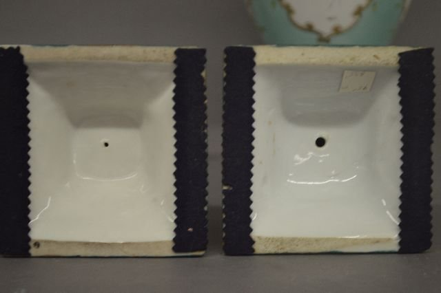 7 HAND PAINTED AND ENAMEL NIPPON PORCELAIN VASES, - 4