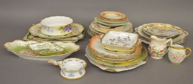 58 PIECES OF  HAND PAINTED LIMOGES PORCELAIN