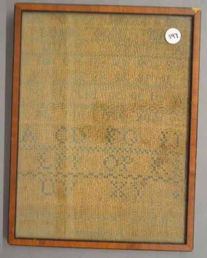 """ANTIQUE WROUGHT FRAMED SAMPLER; 1831 """"MARTHA ATWOOD"""""""