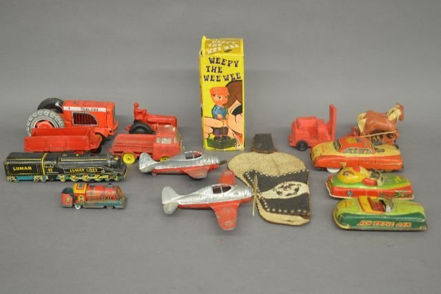 TIN LITHOGRAPHED TOY VEHICLES AND PLANES
