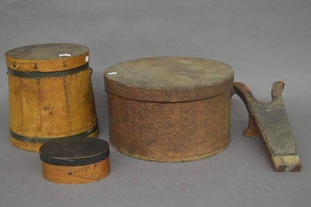 EARLY AMERICAN WOODENWARE SHAKER  BOX, FIRKIN, ETC