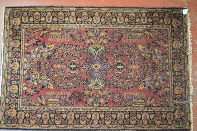 "ANTIQUE PERSIAN AREA CARPET ; 79"" x 52"""