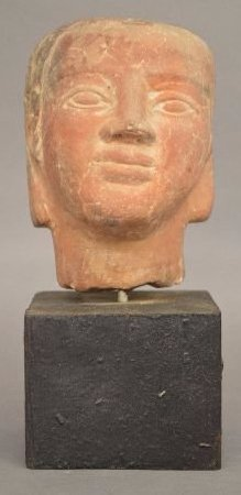 ANCIENT EGYPTIAN REDWARE BUST; 5""