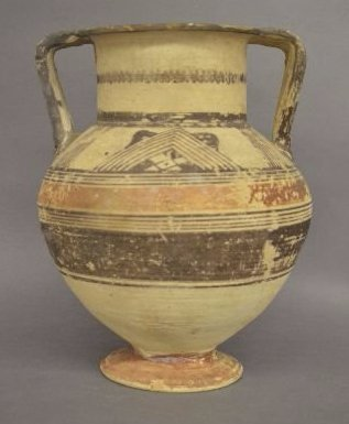 ANCIENT DECORATED AMPHORA/VESSEL, EARLY REPAIR TO