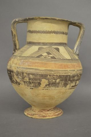 ANCIENT DECORATED AMPHORA/VESSEL, EARLY REPAIR TO - 2