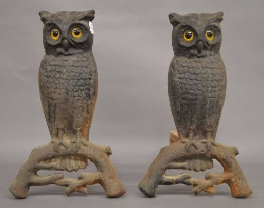 PAIR OF ANTIQUE OWL ANDIRONS WITH GLASS EYES