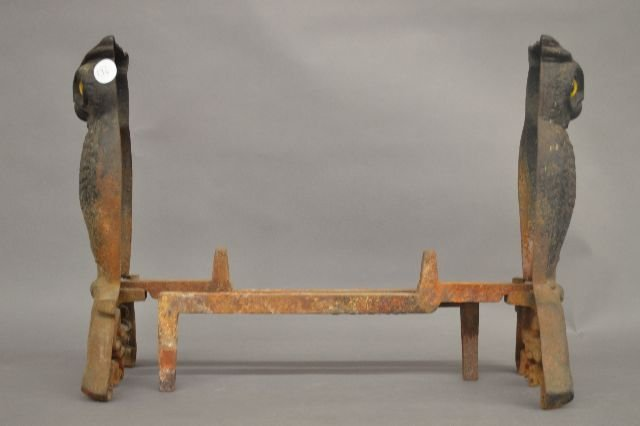 PAIR OF ANTIQUE OWL ANDIRONS WITH GLASS EYES - 2