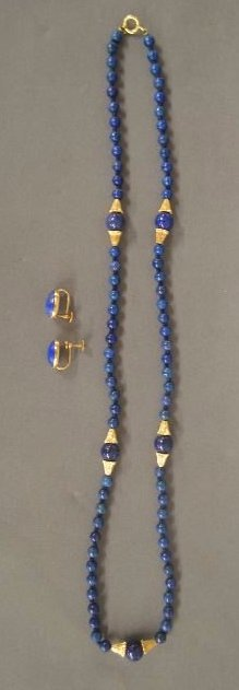 """14K GOLD LAPIS EARRING AND NECKLACE SET; 26""""L"""