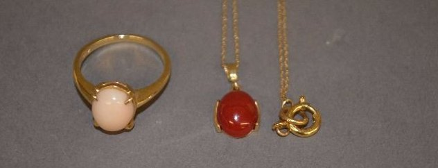 PINK CORAL RING AND RED CORAL NECKLACE PENDANT;