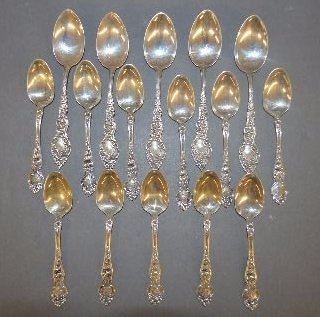 16 FANCY AMERICAN STERLING SILVER DEMITASSE AND 5