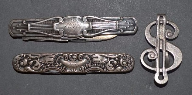 2 STERLING SILVER FRUIT KNIVES AND DOLLAR SIGN MONEY