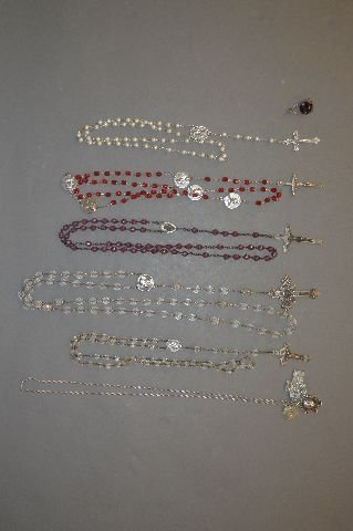 8 STERLING SILVER CRYSTAL ROSARY NECKLACES
