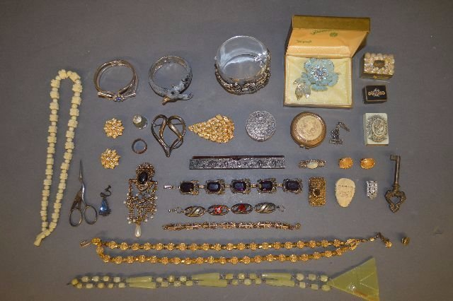 LARGE LOT OF MISC JEWELRY, SILVER PILL BOX, STERLING